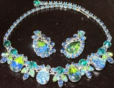 WEISS Amazing Blue & Green Peacock Rhinestone Foil Stone Necklace Earring Set