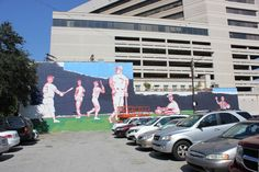 The transformation of our Wininger Law Firm Building into something magical in downtown Birmingham, Alabama. Birmingham Art, Birmingham Alabama, New York Yankees, Murals, Law, Urban, Building, Birmingham, Wall Paintings