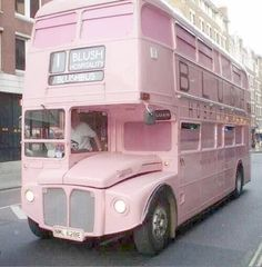 pink, bus, and pastel image