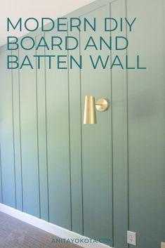 DIY Board and Batten – Anita Yokota - Wall Painting Ideas Feature Wall Bedroom, Accent Wall Bedroom, Feature Walls, Painted Feature Wall, Green Bedroom Walls, Green Painted Walls, Painted Wall Paneling, Wood Walls, Chic Master Bedroom