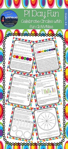 Pi Day Fun Activity will let you celebrate Pi Day this March with little effort and everything already prepared. You get 20 activities to help you and your class explore circles and the magical ratio of pi. Choose from Pi Day Buffet, Fun with Circles Word Search, Solving Circles Crossword, The Great Paper Chain Race, Pi Day Quilts, Exploring Circumference & Radius, Moebius Strips, Testing Buffon's Needle, Pi Web Quest, Exploring the Magical Ratio, Circles & Parallelograms & more