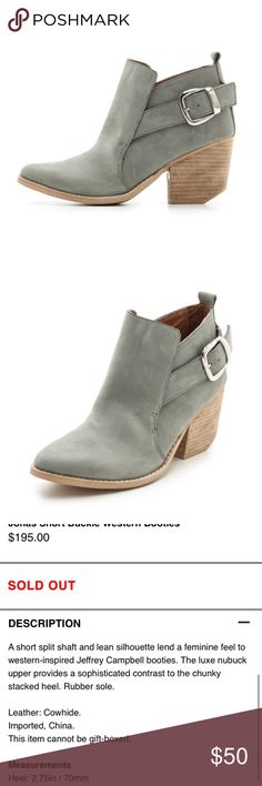 Jeffrey Campbell Jonas Leather Gray Buckle Booties Jeffrey Campbell Jonas booties, these are so cute and the perfect shade of gray that pairs well with everything. Silver buckle on the outside. Stacked wood heel. They are true to size. I'm normally a 9/9.5 and bought them hoping they would fit but they are too big. Jeffrey Campbell Shoes Ankle Boots & Booties