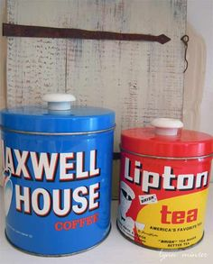 Old coffee and tin canisters from Amvets.