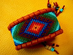 ~ MADE TO ORDER    ~ Colorful Native American Inspired Beadwork on Deerskin Leather.   Beaded UNISEX Cuff Bracelet. Completely Designed &