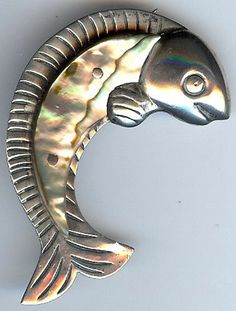 ANA SOSA LARGE VINTAGE MEXICO STERLING SILVER ABALONE FISH PIN #Jewelry #Vintage #Antique