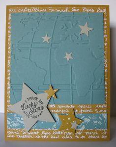 Barb Mann Stampin' Up! Demonstrator - SU - Inspired by Kathy Kartak - Thank My Lucky Stars - Alternate Card - Going Global stamp set, World Traveler EF