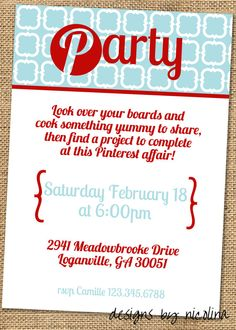 A pinterest girl's night party! Such a fun idea!!! Everyone brings food/drink to share & project to work on at the party from their boards. Love it.