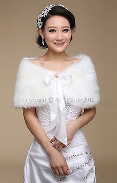 Ivory/White Faux Fur Bridal Evening Wrap Shawl Cape Stole Bolero Throw Shrug