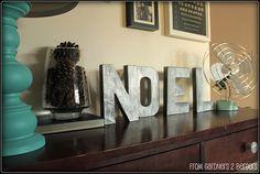 Cardboard Letters - Faux Zinc Look using silver acrylic paint + black glaze. Tutorial.