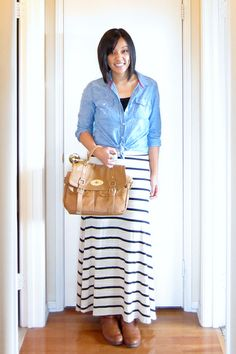 Putting Me Together: Chambray Tops, a Skirt's Best Friend...I think I might need to get a denim top now.