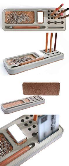 Concrete Smartphone & Pen Pencil Holder Stand Office Desk Organizer Tray