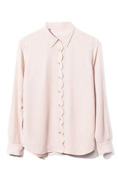 Shop Equipment Brett Clean Scallop Blouse at Moda Operandi Equipment Blouse, Look Rose, Mode Style, Blouse Designs, Shirt Blouses, Blouses For Women, Fashion Dresses, Womens Fashion, Casual Styles