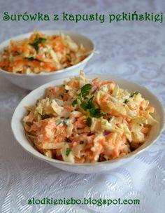Surówka z kapusty pekińskiej Polish Recipes, New Recipes, Polish Food, Recipies, Chicken Egg Salad, Side Salad, Vegetable Salad, Coleslaw, Soup And Salad