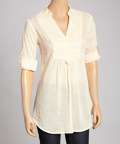 This Light Pink Pleated Roll-Tab Top by Magazine Clothing is perfect! #zulilyfinds