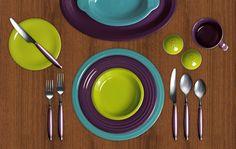 Turquoise, Plum, and Lemongrass Fiestaware