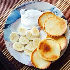 Красивый завтрак❤️ Панкейки с бананом  Вкусно и полезно.Я за правильный образ жизни #пп