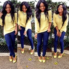 Yellow sweater, jeans, yellow shoes
