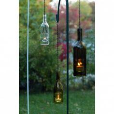 wine bottle garden lanter