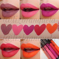 Kat Von D. Everlasting Liquid Lipstick in order swatches arm: Lolita | Jeffree | Bauhau5 | Outlaw | A-go-go