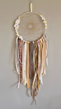 Add to your decor with this beautiful sunny coloured dreamcatcher! Perfect for any boho bedroom, nursery or home. The web is lovingly hand woven in a natural twine thread, complementing perfectly with Teacup Candles, Cottage Crafts, Touch Of Gray, Hobbies And Crafts, Twine, Hand Weaving, Wax, Nursery, Yellow