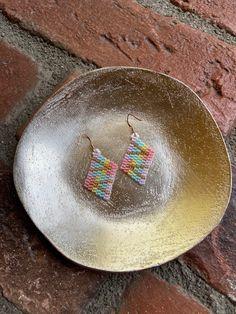 Chubbeadrings Unicorn and Rainbow Rhombus Beaded Earrings By Chubbeadrings by chubbybeadedearrings on Etsy