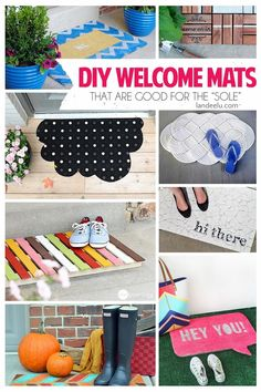 Check out these adorable DIY Welcome Mats for your front porch that will bring an immediate smile to each of your visitors. Make your doormat exactly how you want it with the sweetest entryway cheer! Lots of inspiring ideas here!