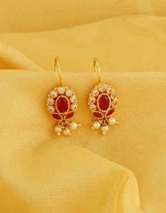 Very Classy Pink Colour Gold Finish Bugadi pinksareeblouse Gold Bar Earrings, Jewelry Design Earrings, Gold Jhumka Earrings, Gold Earrings Designs, Gold Jewellery Design, Necklace Designs, Jewelry Art, Small Earrings, Maharashtrian Jewellery
