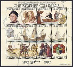 Tonga -- Niaufo'ou (Tin Can Island) Scott #147 a-l (28 Apr 1992) Miniature Sheet of 12 stamps: a. Columbus; b. Queen Isabella and King Ferdinand; c. Columbus being blessed by Abbot of Palos; d. Men in boat, 15th century compass; e. Wooden ship's traverse board, wind rose, Niña; f. Bow of Santa María; g. Stern of Santa María; h. Pinta; i. Two men raising cross; j. Explorers and natives; k. Columbus kneeling before the Catholic Kings; l. Columbus' second Coat of Arms.