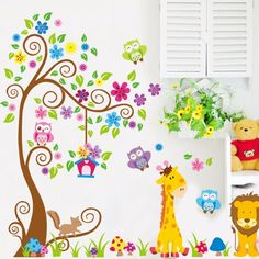 Cheap sticker for kids room, Buy Quality vinyl wall stickers directly from China wall stickers for kids Suppliers: PVC Animal Giraffe Owl Tree Wall Decals Home Decoration Wallpaper Living Room Sofa Vinyl Wall Stickers For Kids Rooms Home Decor Wall Stickers Wallpaper, Kids Room Wallpaper, Flower Wall Stickers, Tree Wallpaper, Wall Stickers Home Decor, Sticker Mural, Wallpaper Roll, Removable Vinyl Wall Decals, Wall Vinyl
