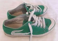 Vintage Lacoste Shoes US 7.5 Apple Green Canvas Lace Up Sneakers Alligator #Lacoste #Tennis