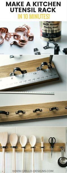 DIY RUSTIC UTENSIL RACK FOR THE KITCHEN