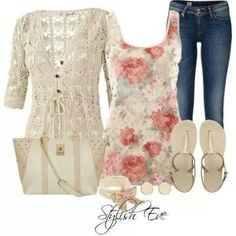 I love the mix of floral tank and lacey sweater.