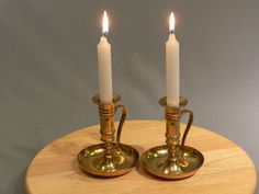 Vintage Candle Holders   Brass Chamber Handle by MasterGreig,