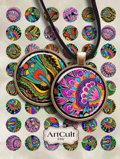 DECOART - 1 inch size Circles images printable download for pendants by ArtCult