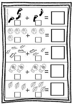 This is a simple addition worksheet with images. Kindergarten Addition Worksheets, Printable Preschool Worksheets, Preschool Math, Math Activities, Lkg Worksheets, Math Notebooks, First Grade Math, Math For Kids, Brown Things