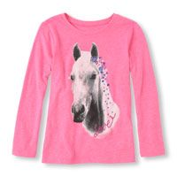 Long Sleeve Photo-Real 'Love' Horse Flower Graphic Tee