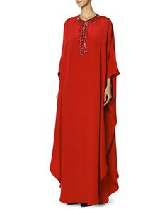 Long Caftan with Jewel-Trimmed Collar, Rosso Scur by Emilio Pucci at Bergdorf Goodman.