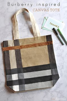 Burberry Inspired Canvas Tote Bag -could do ken for a teacher...and  my books