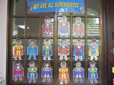Bulletin board idea for superhero theme Class Displays, Classroom Displays, Classroom Themes, Classroom Arrangement, Teaching Themes, School Displays, Superhero School Theme, School Themes, Superhero Ideas