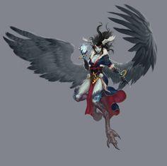 Harpy, Du Showwhy on ArtStation Fantasy Character Design, Character Creation, Character Concept, Character Inspiration, Character Art, Concept Art, Fantasy Races, Fantasy Girl, Fantasy Creatures