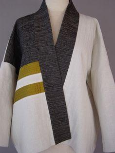 Kimono Jacket in White and Black - Juanita Girardin