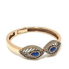 Studio Barse Blue Agate Leaf Bronze Bangle Bracelet. Nice simple bracelet that could be layered with other bangles.