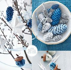 Woodland-inspired blue Christmas by Paul Lowe with spray-painted pine cones and branches cut from outdoors. Blue Christmas, All Things Christmas, Winter Christmas, Christmas Holidays, Christmas Ornaments, Christmas Colors, Christmas Hanukkah, Happy Hanukkah, Vintage Christmas
