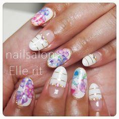 パンジーネイル #nail #lovely #ellerit #cute #gel #gelart #gelnail #flower #summer #hand #handgel #handnail #ネイルデザイン #acegel #stripe #大阪 #南摂津 #北摂 #ジェル #ジェルネイル