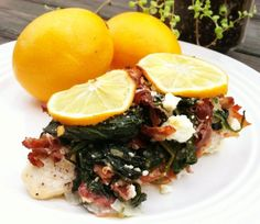 Meyer Lemon, Proscuitto and Spinach Smothered Chicken #PrimallyInspired