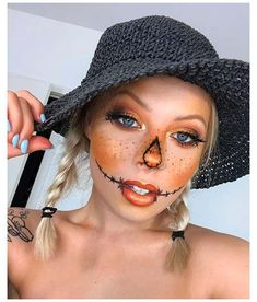 Halloween Costumes Scarecrow, Creepy Halloween Makeup, Creepy Makeup, Scarecrow Makeup, Halloween Makeup Looks, Halloween Outfits, Halloween 2019, Halloween Ideas, Halloween Nails