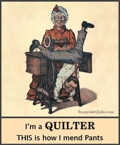 Mending is just not as much fun as quilting! Sewing Art, Sewing Rooms, Love Sewing, Sewing Tips, Quilting Room, Quilting Projects, Quilting Tips, Sewing Humor, Quilts Online