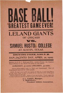 Believed to be the oldest Negro League broadside in existence. House On Haunted Hill, Negro League Baseball, Pontiac Tempest, Giants Baseball, Metal Signs, Chicago, Typography, History, Link