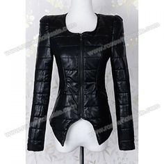 Long Sleeves Solid Color Irregular PU Leather Noble Style Jacket For Women