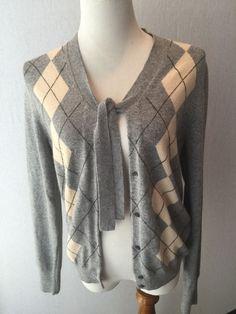 J. CREW gray cashmere blend Argyle Cardigan sweater L #JCrew #Cardigan #CASHMERE #sweater #Jcrewaddict #preppy #prep